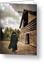 Cowboy Walking By Barn Greeting Card