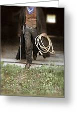 Cowboy With Guns And Rope Greeting Card