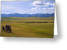 Cowboys And Wagon On A Cattle Drive Greeting Card by Carson Ganci