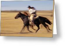 Cowboys Racing Horses Greeting Card