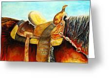 Cowgirl Saddle Greeting Card
