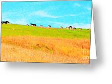 Cows On A Hill . 40d3430 . Painterly . Long Cut Greeting Card by Wingsdomain Art and Photography