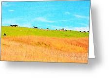 Cows On A Hill . 40d3430 . Painterly Greeting Card
