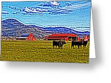 Cows Pasture Barns Superspecialeffect Greeting Card