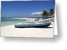 Cozumel Mexico Fishing Boats On White Sand Beach Greeting Card