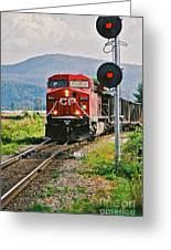 Cp Coal Train And Signal Greeting Card