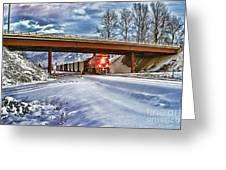 Cp Rail Coal Train Under Bridge Hdr Greeting Card