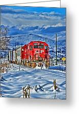 Cp Rail Train In Winter Hdr Greeting Card
