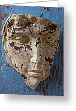 Cracked Face On Blue Wall Greeting Card