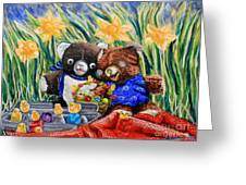 Cracky Bear And Little Boy Bear  So Happy Together Greeting Card