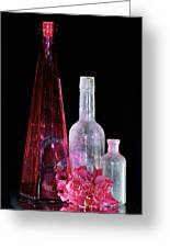 Cranberry And White Bottles Greeting Card