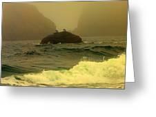 Crashing Waves And Fog Greeting Card