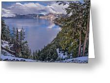 Crater Lake And Approaching Clouds Greeting Card