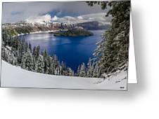 Crater Lake And Fresh Snow Panorama Greeting Card