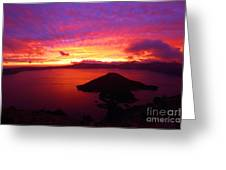 Crater Lake Fire In The Sky Greeting Card