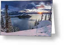Crater Lake Snow Sunrise Greeting Card