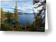 Crater Lake Through The Trees Greeting Card