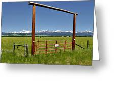 Crazy Mountain Ranch Gate Greeting Card