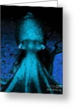 Creatures Of The Deep - The Octopus - V4 - Cyan Greeting Card