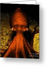 Creatures Of The Deep - The Octopus - V4 - Orange Greeting Card by Wingsdomain Art and Photography