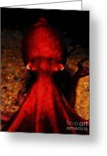 Creatures Of The Deep - The Octopus - V4 - Red Greeting Card
