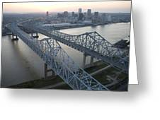Crescent City Connection Bridge Greeting Card by Tyrone Turner