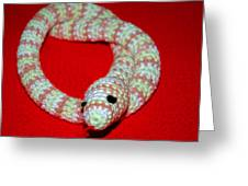 Crochet Snake In Red Greeting Card