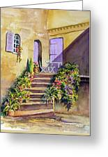 Crooked Steps And Purple Doors Greeting Card