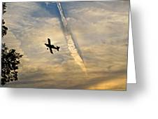 Crop Duster Under The Jet Trail Greeting Card