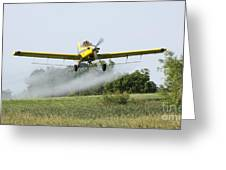 Crop Dusting Plane In Action Greeting Card