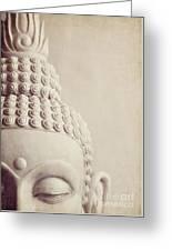 Cropped Stone Buddha Head Statue Greeting Card by Lyn Randle