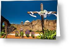 Cross At Mission San Jose Texas Greeting Card
