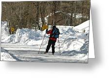 Cross Country Skier On Cape Cod Greeting Card
