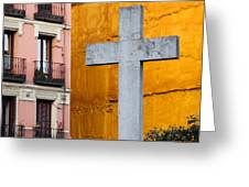 Cross In The City Of Madrid Greeting Card