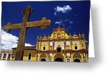 Cross Outside San Cristobal De Las Greeting Card