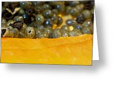 Cross Section Of A Cut Papaya With The Fruit And The Seeds Greeting Card
