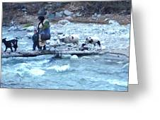 Crossing The Ourika River Greeting Card