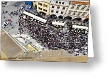 Crowd Forms At Clock Tower - Prague Greeting Card