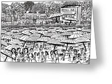 Crowded Beach Black And White Greeting Card