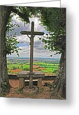 Crucifix Overlooking The French Countryside Greeting Card