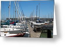 Cruise Ship And Sailboats Pier 39 Greeting Card