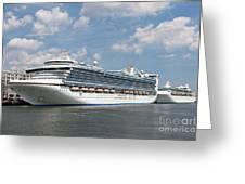 Cruise Ships At Cruiseport Boston Greeting Card