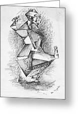 Cubist Man Greeting Card