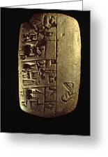 Cuneiform Writing Describes Commodities Greeting Card by Lynn Abercrombie