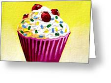 Cupcake With Cherries Greeting Card