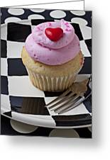 Cupcake With Heart On Checker Plate Greeting Card