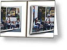 Curb Resting - Gently Cross Your Eyes And Focus On The Middle Image Greeting Card
