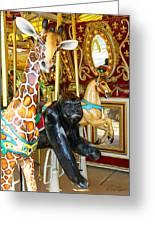 Curious Carousel Beasts Greeting Card