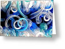 Curls Of Blue And Aqua Greeting Card