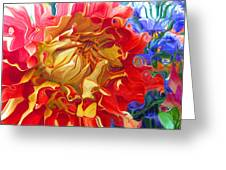 Red And Yellow Dahlia Greeting Card
